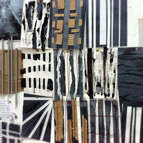 missmeaney:  Experimenting with texture through other media #media #experiment #paper #textiles #uni #card #blackandwhite #geometric #architecture #pattern #shapes (Taken with Instagram)
