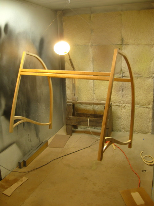 Rolltop Desk base in the spray booth by Reed Hansuld. Levitation is a good trick to know when its time for finishing.