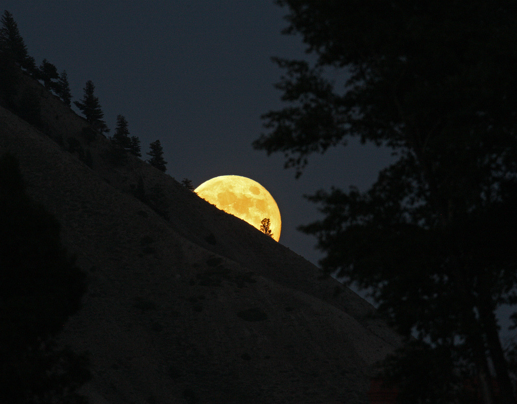 Image description: The moon rises over Mt. Everts in Yellowstone National Park. Photo by Jim Peaco