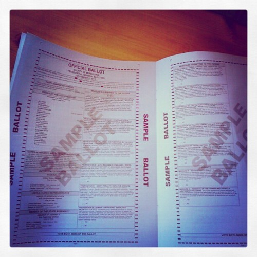 se-smith:  [Image: My sample ballot, showing an impressively long list of propositions.] I feel like I'm preaching to the choir here (I HOPE) so I don't need to be that obnoxious about reminding y'all to vote, but please make sure you're registered and ready to roll with the help of Can I Vote?, especially if you haven't gotten any election materials (sample ballot, voter information guide, etc.) yet.  In other news, the fabulous Everett Maroon, Anna Hamilton, and I will be liveblogging the Presidential Debates. When I know exactly where that will be happening, I will update you!