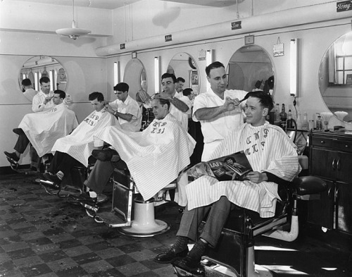 wiscohisto:  Barber shop, Memorial Union, Madison, Wisconsin. The barbers' names are visible above the mirrors—Lyle, John, Len and Tony. The barbershop was on the first floor of Memorial Union on the UW-Madison campus, now occupied by Peet's Coffee and Tea shop. via: University of Wisconsin-Madison Archives and Record Management Services  UW-Madison Archives is also on Tumblr!