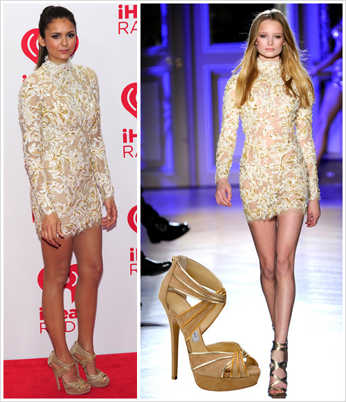 Nina Dobrev attended the second day of the IHeart Radio Music Festival held at the MGM Grand Garden Arena on 22 September in Las Vegas wearing a Zuhair Murad Spring 2012 Couture dress and nude Jimmy Choo 'Koko' heels (black version, €825)
