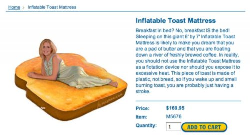 Inflatable Toast Mattress Has Buttery Description Warning: Toast Mattress may cause hilarious jokes about strokes.