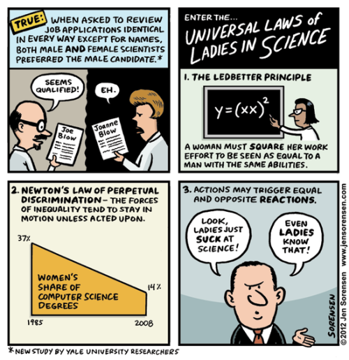 jtotheizzoe:  azspot:  Jen Sorensen: The universal laws of ladies in science  We can do better. We must do better.