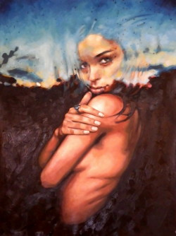 follow thomas saliot thomassaliot:  Sunset girl just finished 160/120cm oil on canvas