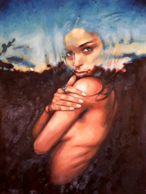 Sunset girl just finished 160/120cm oil on canvas