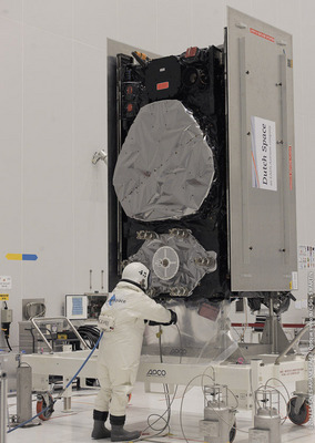 Image of the Day: Twin Galileo Satellites Are Fueled, Ready for LaunchThe twin Galileo satellites are now fully fueled and mated together atop the upper stage that will haul them most of the way up to their final orbit. The launch is now planned for the evening of 12 October, according to the European Space Agency.Technicians donned protective suits to fill the two satellites' tanks with hydrazine fuel, used to maintain the satellites' attitude and orbital position during their planned 12-year lifetime. Rather than carry a significant amount of extra fuel to insert themselves into their planned orbits – like typical telecommunications satellites or Galileo's US GPS equivalents – the Galileo satellites are transported to medium orbit by the Fregat fourth stage of their Soyuz ST-B launcher.Read more: http://www.laboratoryequipment.com/news/2012/10/twin-galileo-satellites-are-fueled-ready-launch