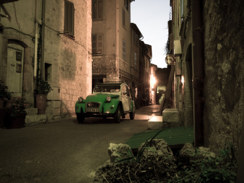 Dawn in Valbonne Citroen 2CV outside my doorstep, 6:30 am, Valbonne.