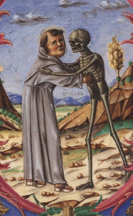 blackpaint20:  Detail of a Franciscan friar embracing death. Italy, mid-15th century.