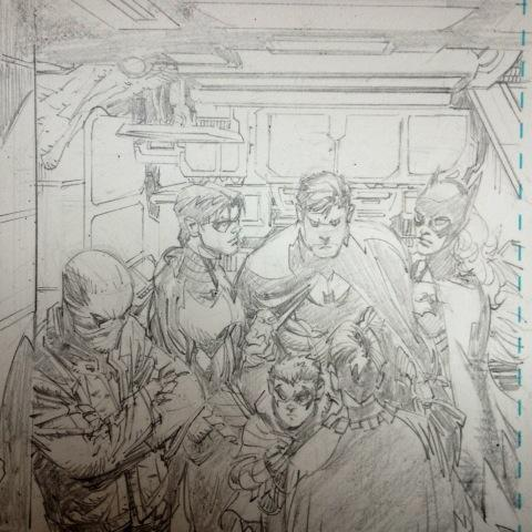 ktupsidedown:  A group shot sketch from an upcoming issue of Batman by Greg Capullo.