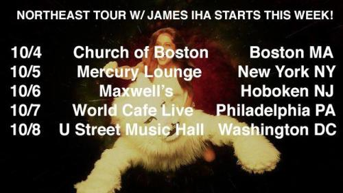 BOSTON, NYC, HOBOKEN, PHILLY + DC: our Northeast tour w/ James Iha starts this week! info + tickets