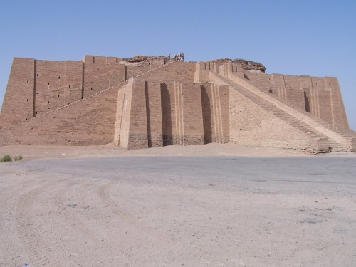 "Ziggurats (Akkadian ziqqurat, ""to build on a raised area"") were massive structures built in the ancient Mesopotamian valley and western Iranian plateau, having the form of a terraced step pyramid of successively receding stories or levels. Notable ziggurats include the Great Ziggurat of Ur near Nasiriyah, Iraq; the Ziggurat of Aqar Quf near Baghdad, Iraq; Chogha Zanbil in Khūzestān, Iran; and Sialk near Kashan, Iran. Ziggurats were built by the Sumerians, Babylonians, Elamites, Akkadians, and Assyrians for their local religions. Each ziggurat was part of a temple complex which included other buildings. The precursors of the ziggurat were raised platforms that date from the Ubaid period during the fourth millennium BC. The earliest ziggurats began to appear near the end of the Early Dynastic Period (c. 2900-2334 BC). The latest Mesopotamian ziggurats date from the 6th century BC. Built in receding tiers upon a rectangular, oval, or square platform, the ziggurat was a pyramidal structure with a flat top. Sun-baked mud bricks made up the core of the ziggurat with facings of fired bricks on the outside. The facings were often glazed in different colors and may have had astrological significance. Kings sometimes had their names engraved on these glazed bricks. The number of tiers ranged from between two to seven. It is assumed that they had shrines at the top, but this is based on textual evidence from the Greek historian Herodotus. Access to the shrine would have been by a series of ramps on one side of the ziggurat or by a spiral ramp from base to summit. The Mesopotamian ziggurats were not places for public worship or ceremonies. They were believed to be dwelling places for the gods and each city had its own patron god. Only priests were permitted on the ziggurat or in the rooms at its base, and it was their responsibility to care for the gods and attend to their needs. The priests were very powerful members of Sumerian society. One of the best-preserved ziggurats is Chogha Zanbil in western Iran. The Sialk ziggurat, in Kashan, Iran, is the oldest known ziggurat, dating to the early 3rd millennium BC. Ziggurat designs ranged from simple bases upon which a temple sat, to marvels of mathematics and construction which spanned several terraced stories and were topped with a temple. An example of a simple ziggurat is the White Temple of Uruk, in ancient Sumer. The ziggurat itself is the base on which the White Temple is set. Its purpose is to get the temple closer to the heavens, and provide access from the ground to it via steps. The Mesopotamians believed that these pyramid temples connected heaven and earth. In fact, the ziggurat at Babylon was known as Etemenankia or ""House of the Platform between Heaven and Earth"". An example of an extensive and massive ziggurat is the Marduk ziggurat, or Etemenanki, of ancient Babylon. Unfortunately, not much remains of this massive structure, yet archaeological findings and historical accounts put this tower at seven multicoloured tiers, topped with a temple of exquisite proportions. The temple is thought to have been painted and maintained an indigo colour, matching the tops of the tiers. It is known that there were three staircases leading to the temple, two of which (side flanked) were thought to have only ascended half the ziggurat's height. Etemenanki, the name for the structure, is Sumerian and means ""The Foundation of Heaven and Earth"". The date of its original co"
