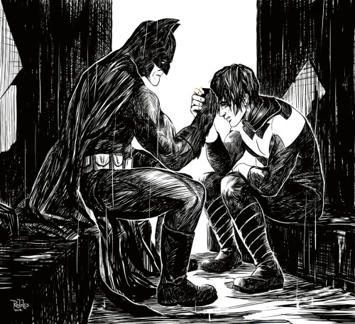 tights-and-capes:  Batman Bromance by Nick Robles