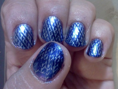 China Glaze Want my Bawdy, Stamped with Essie Blue Rhapsody