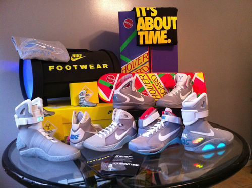 ULTIMATE NIKE MCFLY LOT HITS EBAY FOR OVER $18K Large sneaker lots are one of the most beautiful things that eBay has introduced to the streetwear game. Many sneakerheads have awesome stories about finding their favorite shoes at 4am on a Wednesday night amidst the glow of the computer screen. Another amazing thing about eBay lots is the opportunity for collectors of many different themes to gain recognition and a huge chunk of change for their dedication. These two worlds collide as sneaker and Back to the Future collector eliteamericanwholesale puts together this $18,500 lot for every Nike McFly piece you could ever want.   Of course the Air MAGs are included, but the lot also features the 2008 Nike Hyperdunk McFlys, 2009 Nike Hypermax McFly NFWs, the limited-to-twelve-pieces 2010 Nike Hyperdunk sample, and the pretty much impossible to get 'It's About Time' tee that Tinker Hatfield wore in Nike's Air Mag 2015. If that wasn't enough, also featured are replicas of the Matel Hoverboard and Nike bazooka bag carried by the Doc in Back to the Future 2. If you have 18 g's to spare, head to the eBay auction here.