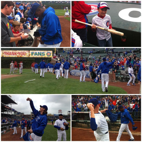Cubs players, coaches & front office staff handed out signed baseballs and souvenirs today to say thanks to our fans. #fans #wrigleyfield #mlb #cubs #chicagocubs #baseball #cubsplayers