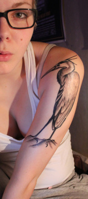 fuckyeahtattoos:  My first tattoo, great blue heron~ Made in Custom X (Lahti Finland), by Juha. It became prettier than I thought ♥ I'm more than satisfied.