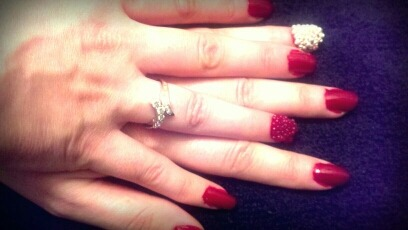 "Beauty Wednesday  Caviar Nails  This was a request from one of our lovely students!  ❈ Paint your nails with 2 coats of your favorite polish ❈ Run to your local craft store for some micro beads ❈ Paint the portion of your nail where you would like your """"caviar"""" with nail glue, a sticky top coat, or foil glue (dip your sticky nail into a bowl of beads and press, apply a thick top coat for extra seal.)  Great for an accent nail!"