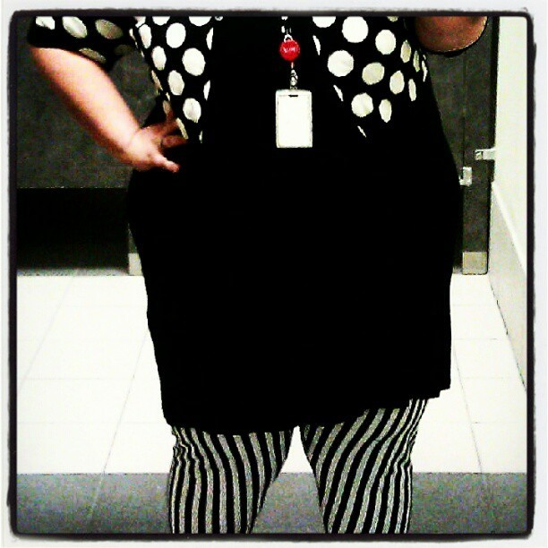 Stripes and polka dots - the black and white theme continues. (Taken with Instagram)