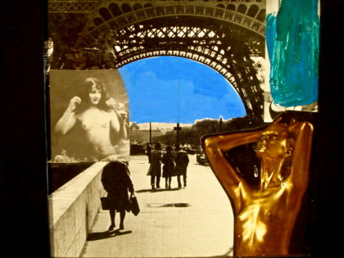 Golden nudes in Paris, a collage by Jack Roth.