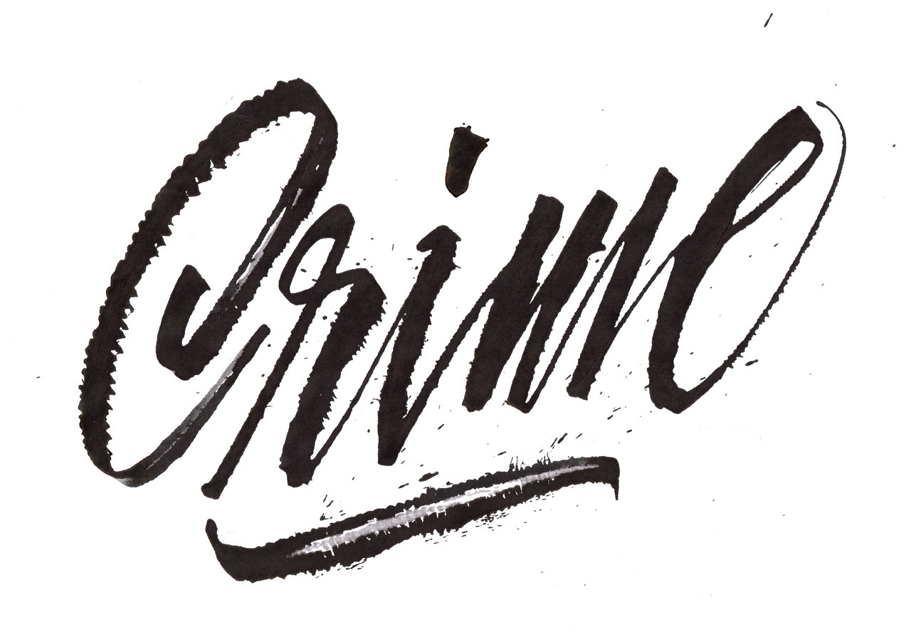 Calligraphi.ca Crime, Ruling Pen and  Indian Ink on paper. Giuseppe Salerno
