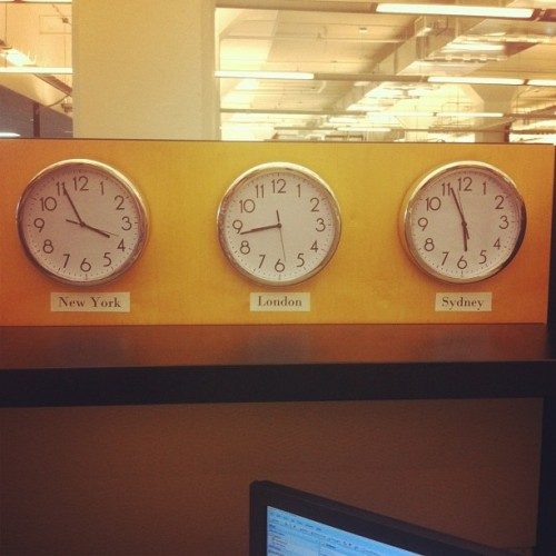 Just added: three clocks in my cube so I can work like I'm Murphy Brown. (Taken with Instagram)