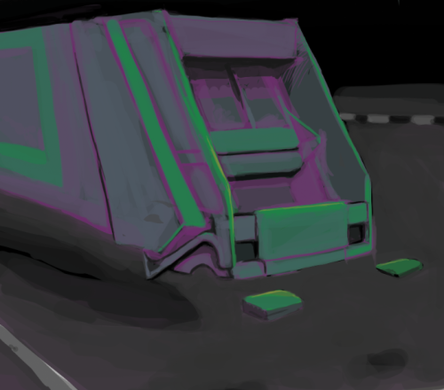 fatmalovestodraw:  WIP. Purple and green flying garbage truck!