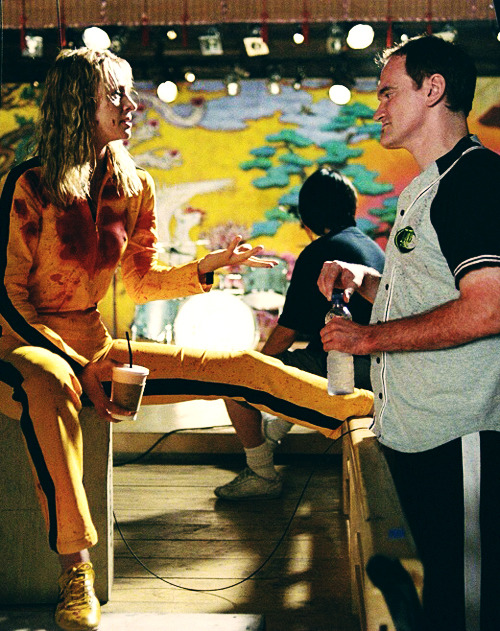 fuckyeahdirectors:  Una Thurman and Quentin Tarantino on-set of Kill Bill