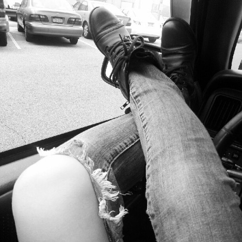 Waiting for babes to get out of work!! #favjeans #wornout #combatboots #cloudydays  (Taken with Instagram)