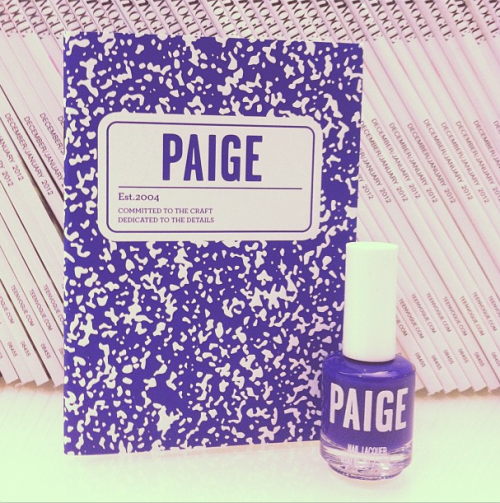 School-ready Paige notebook and nail polish