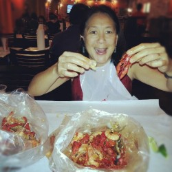Mom and I like to play with our food @ Kickin Crab (Taken with Instagram)