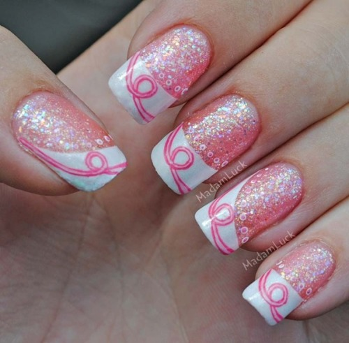Breast Cancer Awareness Inspired Nails by Amanda S.!