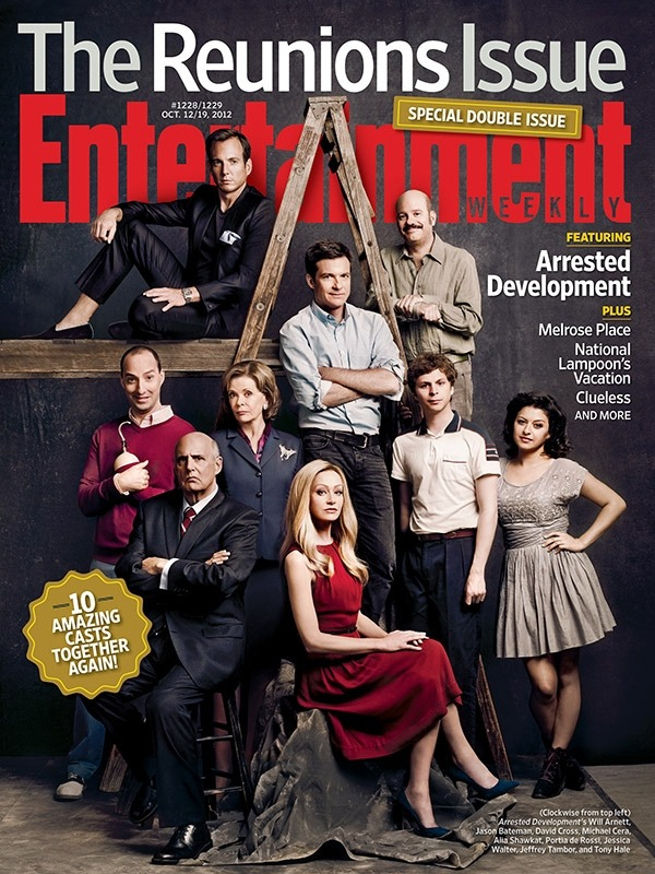 "entertainmentweekly:  We know, we know: You just blue yourself. In our latest issue, the cast of Arrested Development reveals what it was like to work together again: ""We all walked onto the set and we just sat around and stared at each other, and it was surreal,"" says Portia de Rossi. ""Everybody looked exactly the same and they acted exactly the same, both in character and in between takes. Body ­language was the same, the same old jokes, the same old eye rolls. It was really amazing."" This is a special collector's edition cover for subscribers; everyone else can buy a copy here."