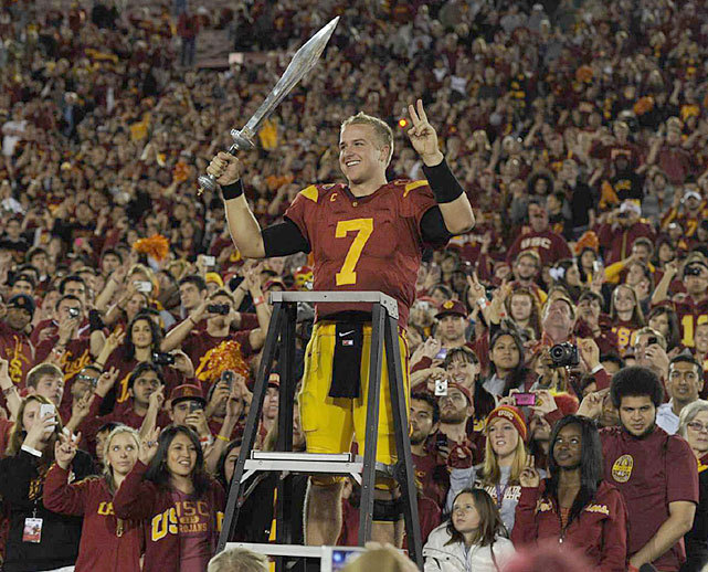USC quarterback Matt Barkley leads the USC Band after a Nov. 2011 victory over UCLA. SI's Andy Staples discusses Barkley's decision to stay at Southern Cal and despite the struggles of the team, concludes that Barkley was wise to remain in college this year. (John W. McDonough/SI) STAPLES: Barkley wise to stay in college one more yearMcCARTNEY: Heisman Watch: Smith still the leaderSTAPLES: A Power Rankings quandry in the Pac-12