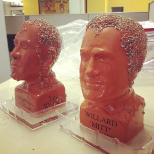 motherjones:  The 2012 Mother Jones Presidential Chia Pet race is officially underway. (Taken with Instagram)