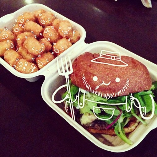 truffle burger and tots