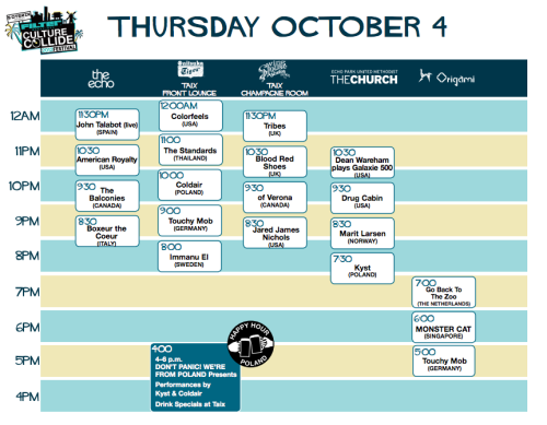CULTURE COLLIDE THURSDAY SCHEDULE