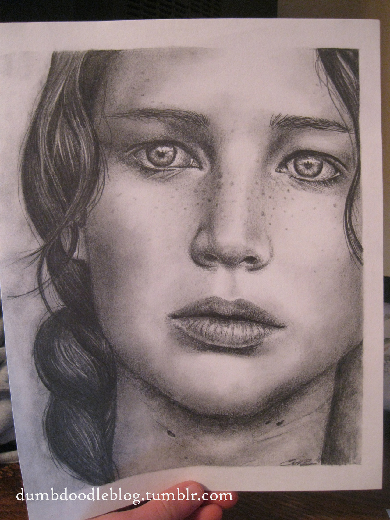 "dumbdoodleblog:  Katniss 8x10"" in pencil *prints available by request. Just message me"