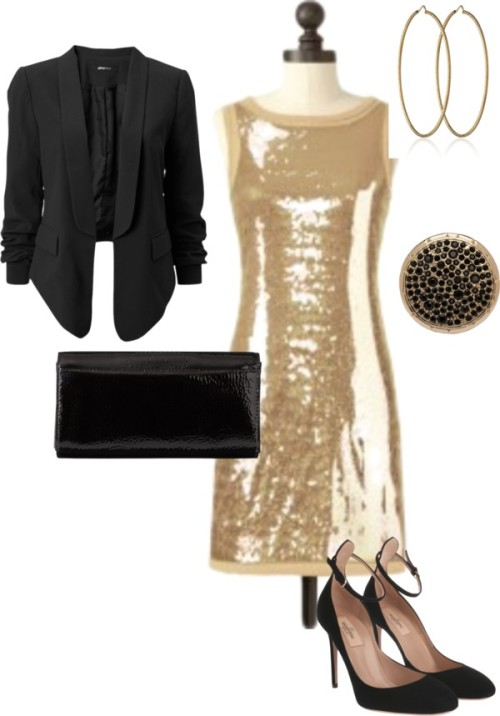 Black & Gold by meeshandmia featuring clutch handbags