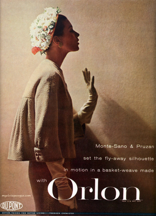 Du Pont/Orlon 1957  Barbara Mullen wearing suit by Monte-Sano & Pruzan
