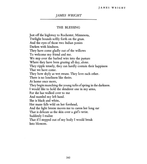 "poetrysince1912:  —James Wright, Poetry, March 1961From The Open Door: 100 Poems, 100 Years of Poetry Magazine. In the introduction, editor Christian Wiman writes: When we talk about lyric poetry we tend to think of emotional inwardness, even when the details of a given poem may be completely external. James Wright's ""The Blessing"" is a classic example: the details of the natural world are rendered with a kind of inner spiritual precision that enables the poet almost, but not quite, to transcend them."
