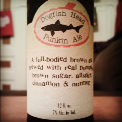 Dogfish Head Punkin AleHometown: Rehoboth Beach, DE c. 1995 Drank: Saline, MI Best Consumed: Not with candy corn but probably in a costume.   Review: DO YOU LIKE NUTMEG?  Delicious and filling, gets ya ready for fall weather ABV: 7% If you really care: http://www.dogfish.com/brews-spirits/the-brews/seasonal-brews/punkin-ale.htm