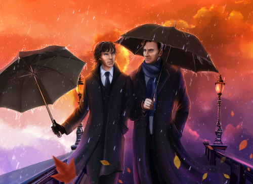 sherlockart:  Umbrellas and Leaves by ViaEstelar
