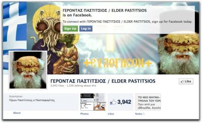"Greek Man Arrested for Blasphemy on Facebook Via the Christian Science Monitor:  A man was arrested last week in Evia, Greece, on charges of posting ""malicious blasphemy and religious insult on the known social networking site, Facebook"" according to a press release by the Greek police. The accused, whose identity has not been made public, had created and managed the Facebook page Elder Pastitsios the Pastafarian, a name that plays on a combination of Elder Paisios, a famous, late Greek-Orthodox monk, and the Greek food pastitsio, a baked pasta dish made of ground beef and béchamel sauce. The term ""pastafarian"" is a reference to the satirical pseudo-religion ""Church of the Flying Spaghetti Monster,"" which has been used to lampoon creationism. The picture of Elder Pastitsios has a pastitsio where the monk's face should be.  The accused man says he was satirizing the commercialization of Paisios. If you're unfamiliar with the Church of the Flying Spaghetti Monster, the best place to start is probably here for background and then here with the letter that started it all. UPDATE: There's actually a Change.org petition to abolish Greek blasphemy laws going on. It currently has over 10 thousand signatories.   Image: Cached version of the Elder Pastitsios the Pastafarian Facebook page via Google."