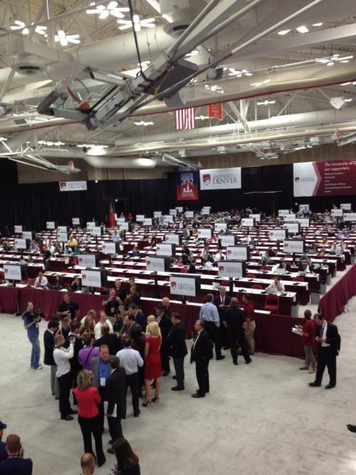Pre-debate scene at presidential debate media room in Denver (Photo taken by CBS Radio News' Peter Maer)