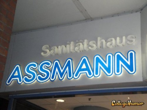 Assmann Sign in Germany Dr. Cosmo Kramer. Proctology.