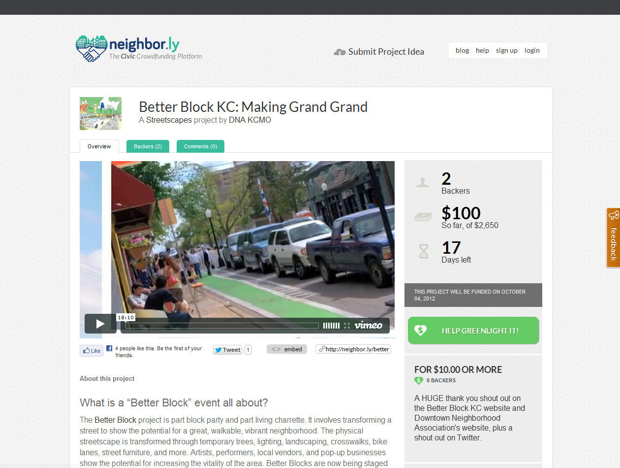 6 more hours on our crowdfunding campaign.  Think of it as your cover charge to an amazing block party!  This event will go forward regardless, but meeting our goal will make it so much cooler — and so much more likely to catalyze permanent change on Grand Boulevard!  Huge thank you to all who have already contributed to making Kansas City a better place.