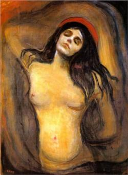 german-expressionists:   Edvard Munch, Madonna, 1894    I prefer the lithograph, but the painting is also nice.