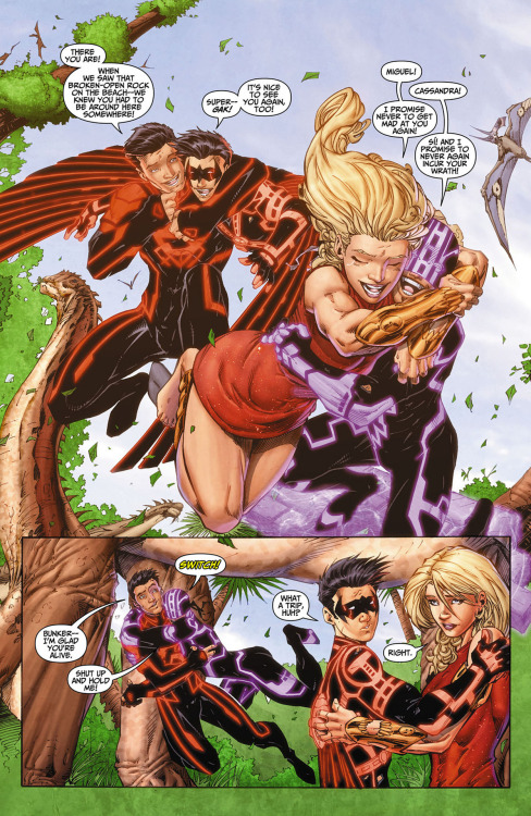 Cassandra Sandsmark, Bunker, Red Robin, Superboy from Teen Titans #10art by Brett Booth / Norm Rapmund(C) DC 2012