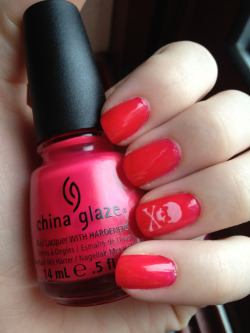 "goodmorningdoll:  China Glaze ""Live, Laugh, Love"" with ""Always a Lady"" for the skull. Both of these polishes are from China Glaze's new collection for Breast Cancer Awareness Month."